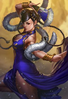 Chunli Glamour (line by Artgerm ) by largee17