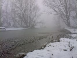 River with snow and fog 03 by Simbores