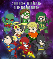 Justice League Chibies by DeanGrayson