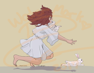 Artemis and Rabbits Watermarked by Insanitys-Child