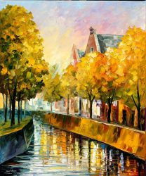 Fall In Amsterdam by Leonid Afremov by Leonidafremov