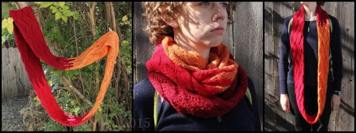 Flame Chevron Knit Infinity Scarf ~ Now On Etsy by ThePeculiarMissE