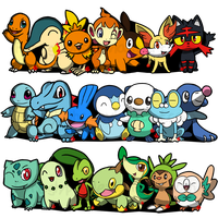 Pokemon Starters by Fyreglyphs