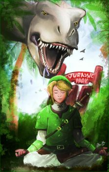Link in Jurassic Park, doing yoga by AkiraAlion