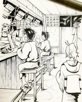 Day 13: Taverns - Inktober 2017 by Jhincx-Faust
