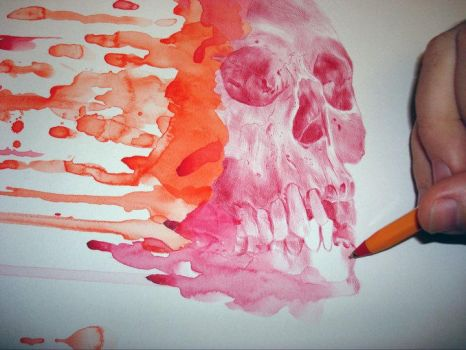 skull drawing with drips 1 by PaulAlexanderThornto