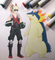 Bakugou and Typhlosion by WolfJayden