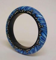 Blue Monarch fimo Bangle by OriginalBunny