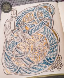 Gold and Blue - Celtic Dragon by Feivelyn