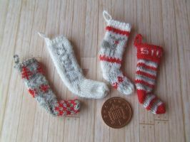 Set of 1:12th scale Red Stockings by buttercupminiatures
