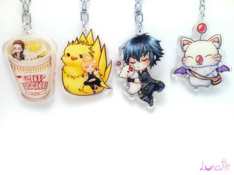 Final Fantasy Acrylic Charms by fullmoonnightonigiri
