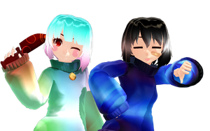 [MMD Undertale] Cool Frisk and Sugar Chara 3 by InsaneHipsterTeto