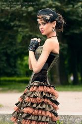 Corset made of velvet and taffeta striped kind. by Karmilla1