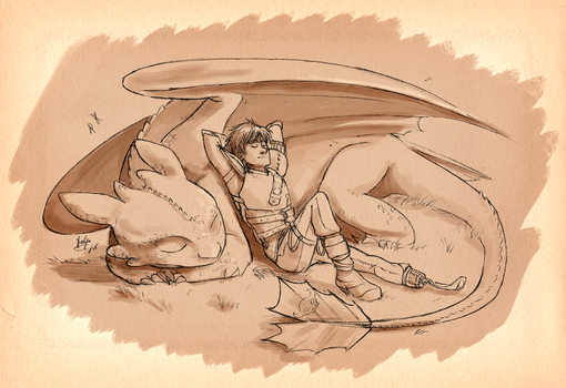 Hiccup and Toothless by KuroCyou