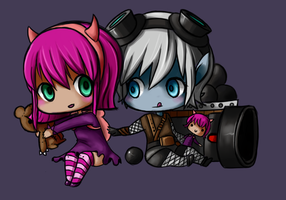 Chibi annie and Tristana by NerdyNation