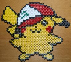 Pikachu with Ash's caps - Perler or Hama by Chrisbeeblack