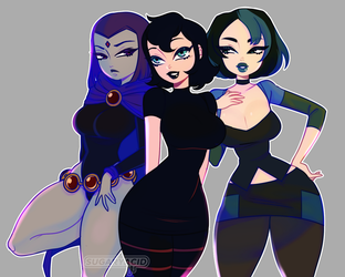 Goth Girls by sugaryacidart