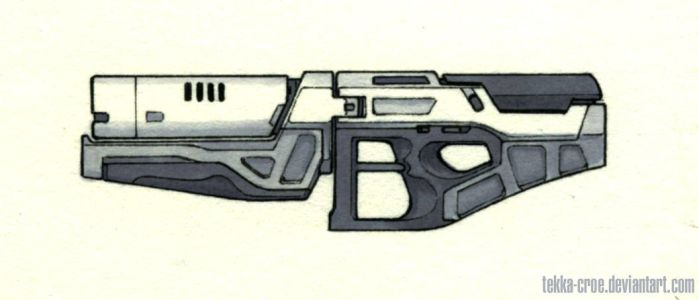 Inktober Day 17 (Beam Rifle) by Tekka-Croe