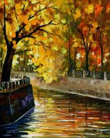 Autumn canal by Leonid Afremov by Leonidafremov