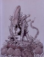 Alien with Eggs by Steevcomix