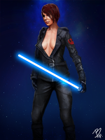 Female jedi by BluefireArt