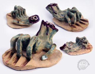 Ceramic Zombie Hand by Clayofmyclay