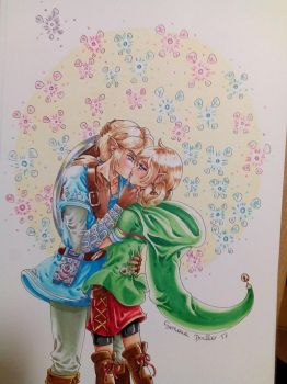 Link and Linkle kiss by rilideja
