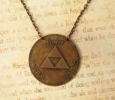 Triforce Medallion  Antiqued Brass Fixed by FusedElegance