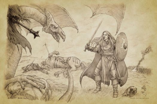 Eowyn Confronts the Witch-king by aautio