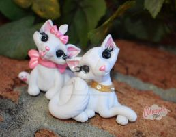 Polymer Clay Dutchess and Marie Aristocats by whisperfillies