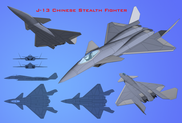 J-13 Chinese Stealth Fighter by diasmon