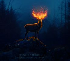 Deer of Fire by JennyLe88