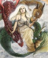 Daenerys and Her Dragons by Lonejax