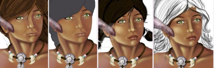Facial Evolution 2 - watching her come to life! by Therena-C-Art