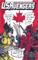 USAvengers Sketch Cover, Wolverine v Deadpool by WEXAL