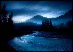Blue River Night by MarcAdamus