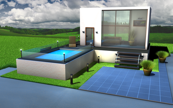 3D pool house C4D R11.5 by RaySpoint