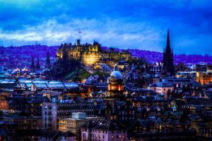 Edinburgh at dusk by boydgphotography