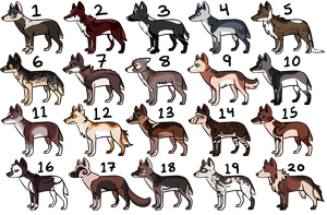 A decent amount of wolf adopts (7/20 open) by 0palite