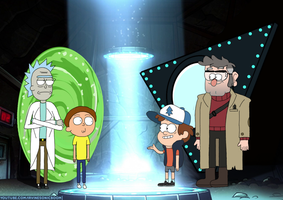 Rick and Morty Meets Dipper and Ford Crossover by IrvineSonicboom