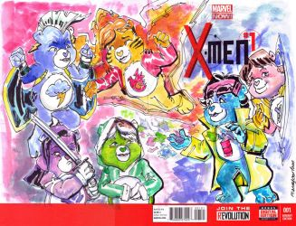 X Men1 Care Bear Sketch Cover by mannycartoon