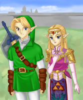 Zelda and Link - Peace in Hyrule by AngieSan