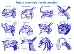 Future mammals - head sketches by MickMcDee