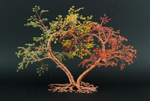 Two trees one heart multicoloured bead and copper  by Twystedroots