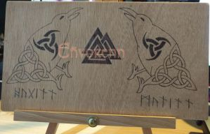 Huginn and Muninn:pyrography by Envorenn