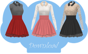 [MMD] COLLARED DRESS [+DL] by Sims3Ripper