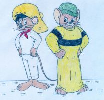 Speedy Gonzales and Muscles Mouse by Jose-Ramiro