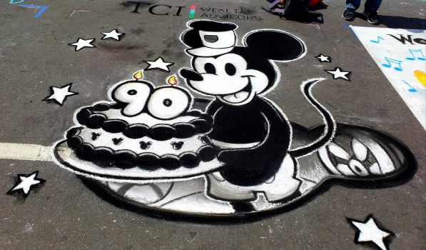 Mickey Mouse Chalk Art by Smudgeandfrank