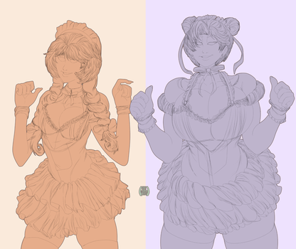 Elika and Linds maid girls linework by EICHH-EMMM