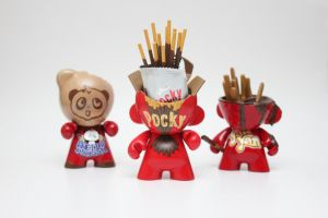 Munny Snacks Trio: Hello Panda, Pocky, and Yanyan by spilledpaint88